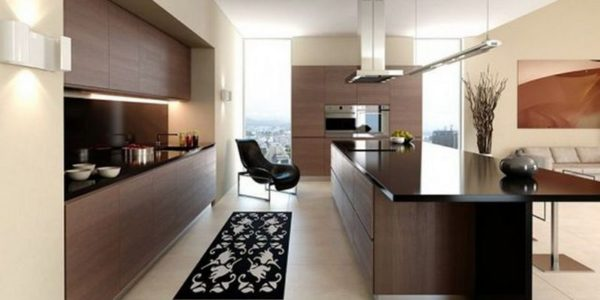 Design minimalist bucatarie deschisa