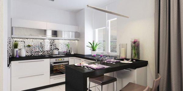 Design modern alb negru bucatarie