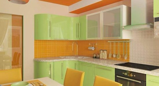 Design portocaliu verde bucatarie