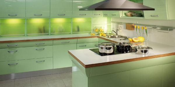 Design verde fistic bucatarie