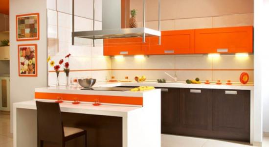 Design vesel alb portocaliu bucatarie