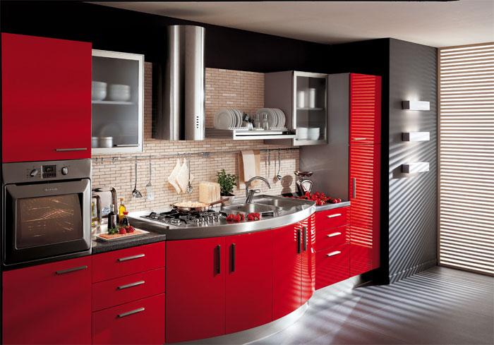 Mobilier bucatarie rosu-negru