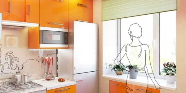 Mobilier portocaliu alb bucatarie