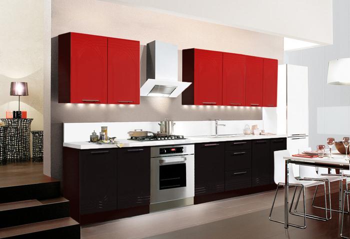 Mobilier rosu-negru bucatarie moderna
