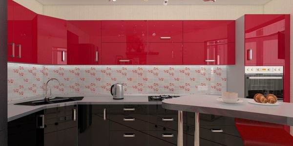 Mobilier rosu-negru bucatarie spatioasa