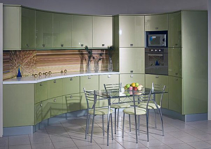 Mobilier verde fistic bucatarie mica