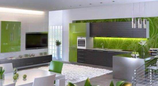Mobilier verde gri bucatarie
