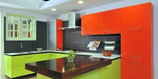 Mobilier verde-portocaliu bucatarie moderna