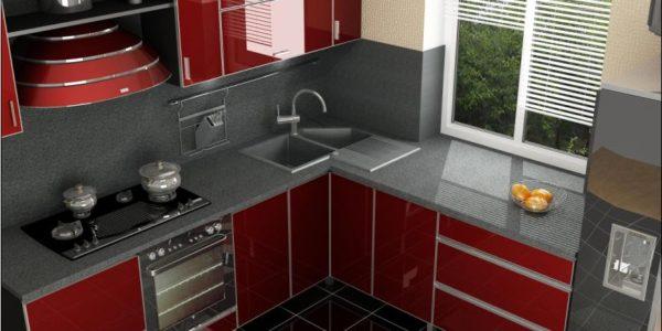 Amenajare moderna bucatarie cu mobilier bordo