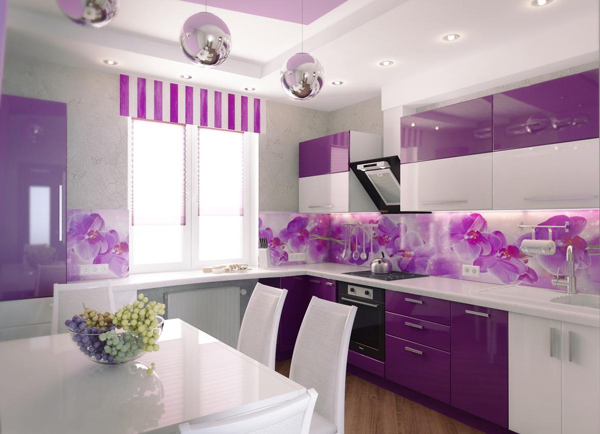 Bucatarie cu decor alb-lila