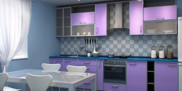 Bucatarie cu decor bleu-lila