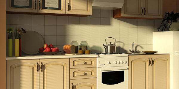 Bucatarie cu decor clasic in culoarea vaniliei