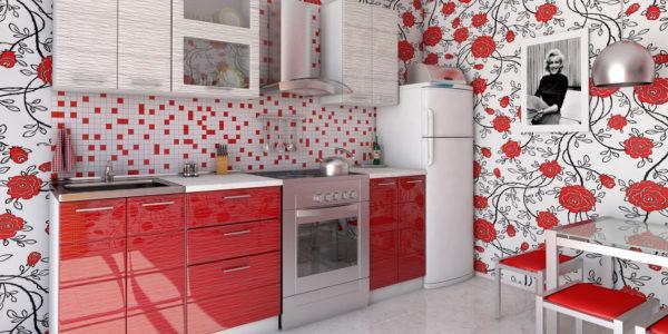 Bucatarie cu design alb-rosu