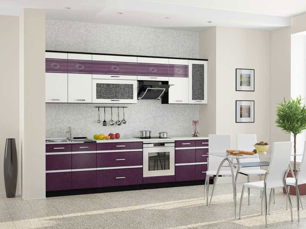 Bucatarie cu dining si mobilier violet aubergine