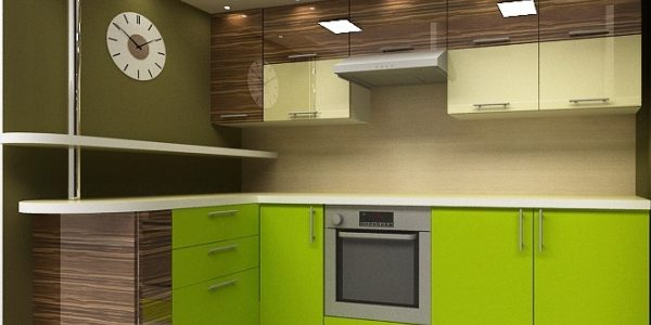 Bucatarie cu mobilier wenge-verde