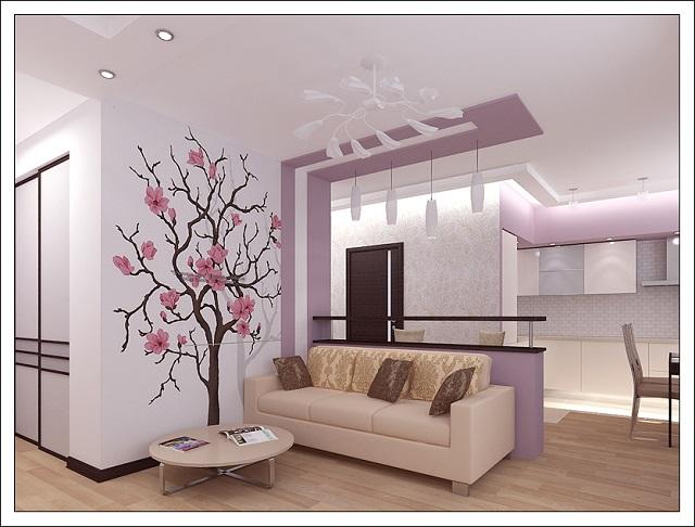 Bucatarie deschisa cu mobilier alb-roz