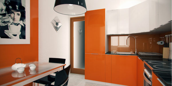 Bucatarie eleganta cu decor alb-portocaliu