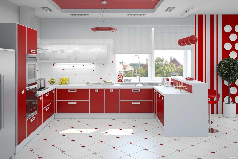 Bucatarie eleganta cu design alb-rosu
