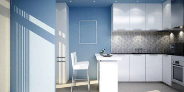 Bucatarie eleganta cu design albastru