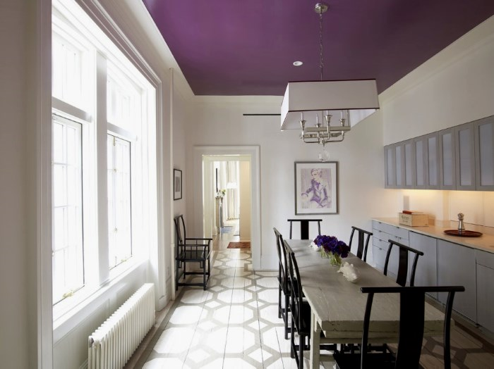 Bucatarie eleganta cu tavan violet aubergine