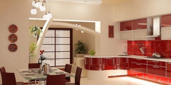 Bucatarie luxoasa cu decor alb-rosu