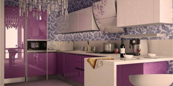 Bucatarie luxoasa cu decor lila