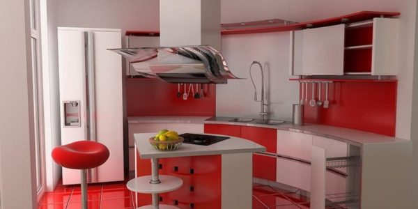 Bucatarie mica cu decor alb-rosu