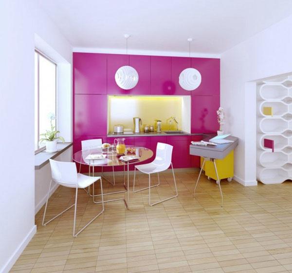 Bucatarie mica cu decor alb-roz