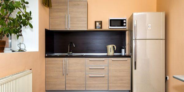 Bucatarie mica cu mobilier in culoarea sampaniei