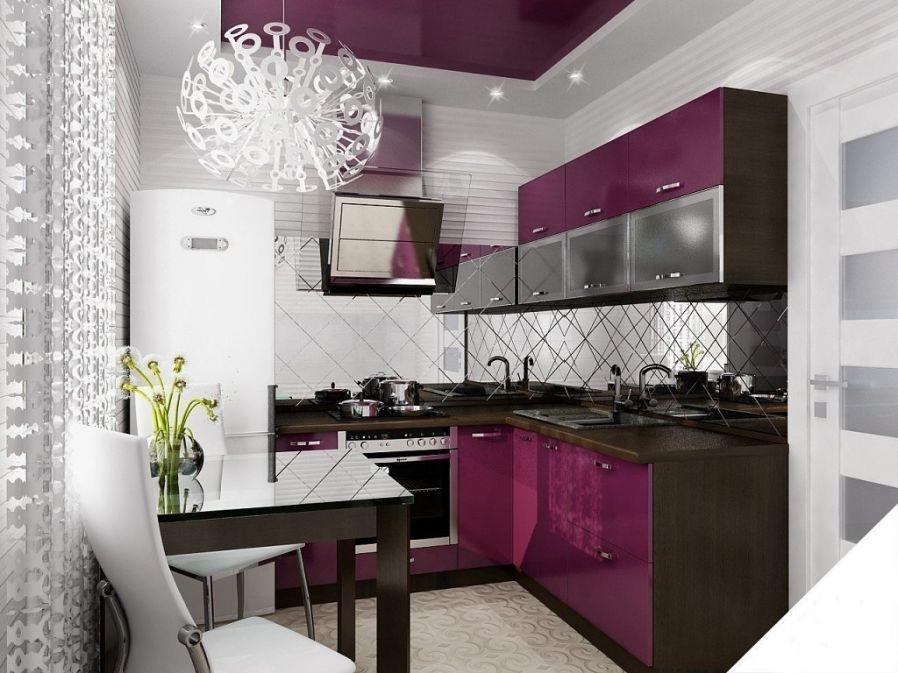 Bucatarie mica cu mobilier violet aubergine