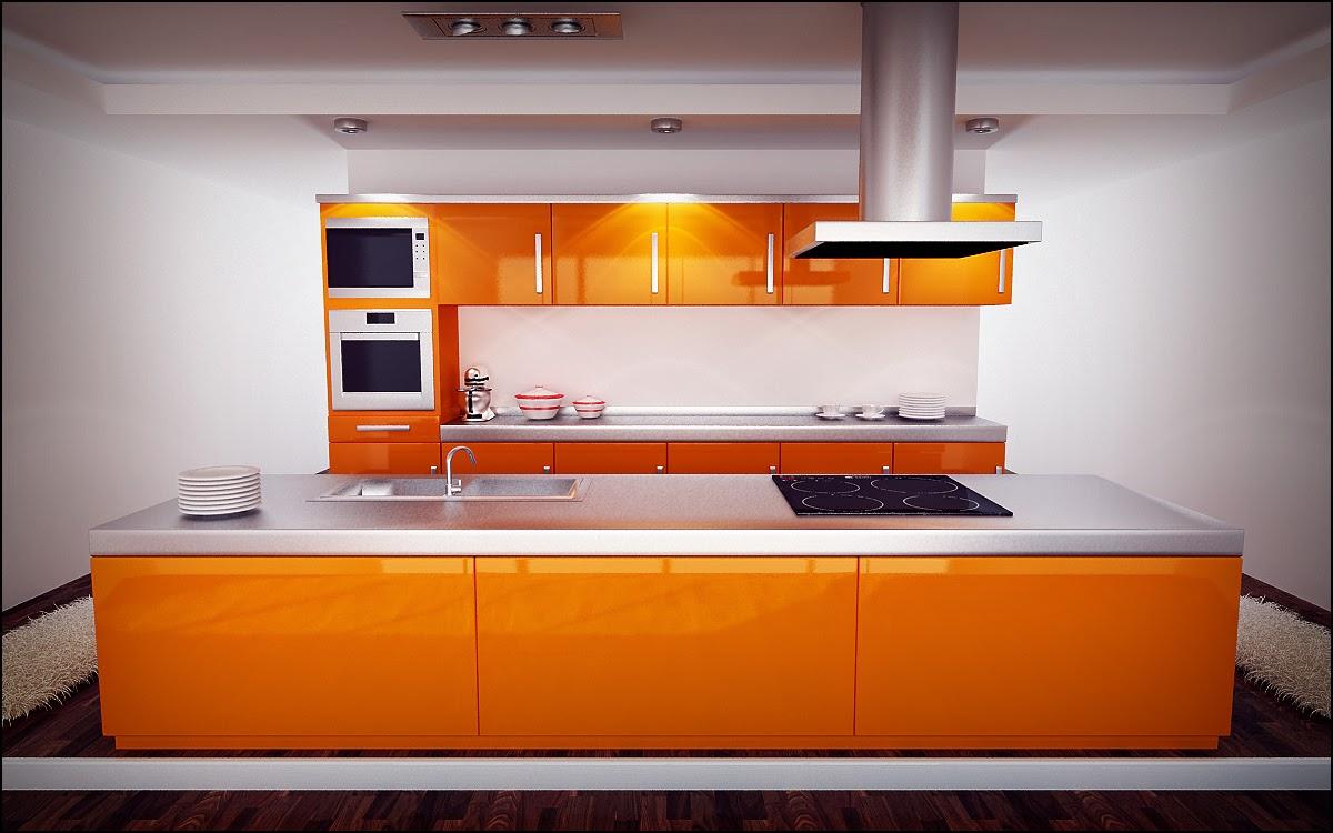 Bucatarie moderna cu decor alb-portocaliu