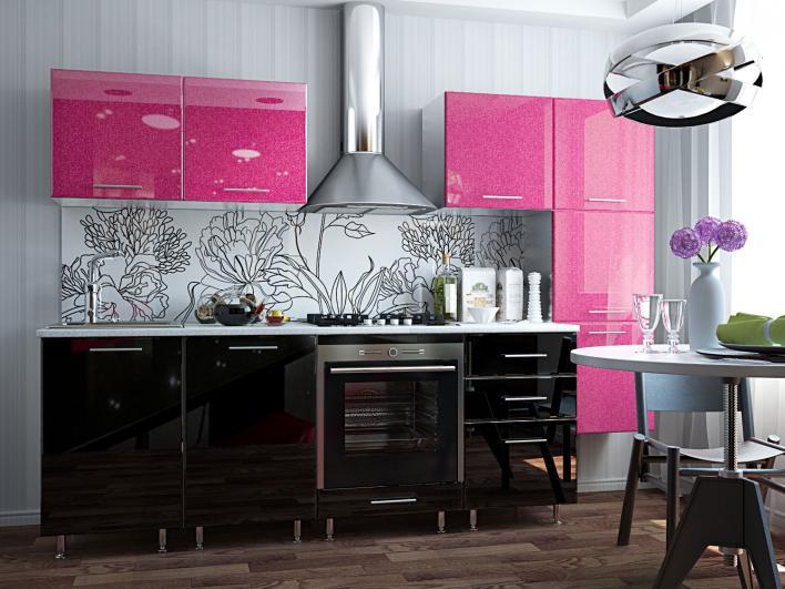 Bucatarie moderna cu mobilier negru-fucsia