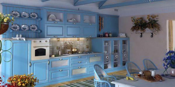 Bucatarie rustica cu decor albastru