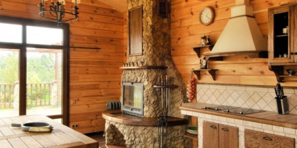Bucatarie rustica cu soba
