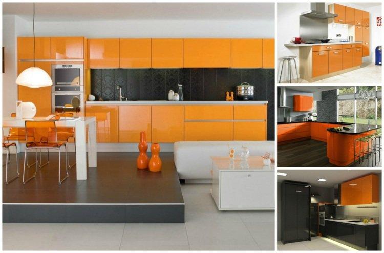 Bucatarii cu decor alb-portocaliu