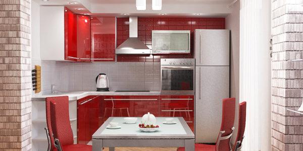 Decor alb-rosu bucatarie cu dining