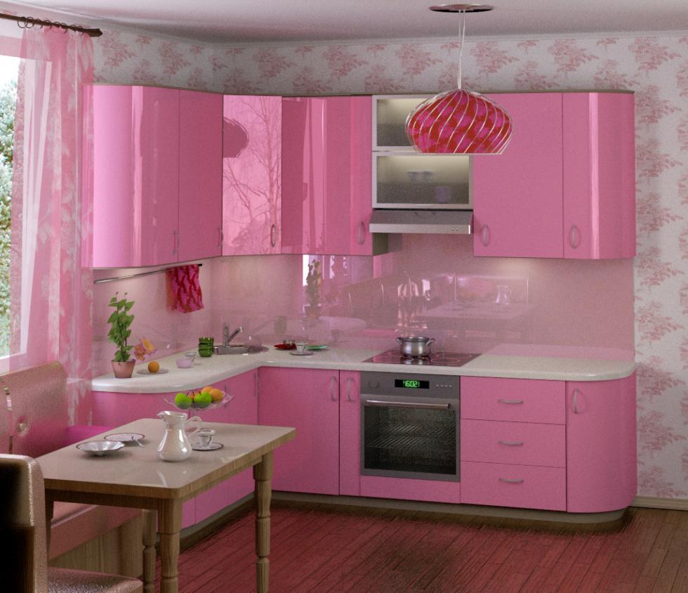 Decor alb roz bucatarie