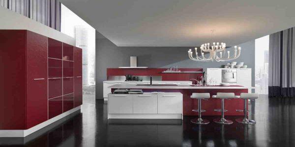 Decor elegant alb-rosu in bucatarie