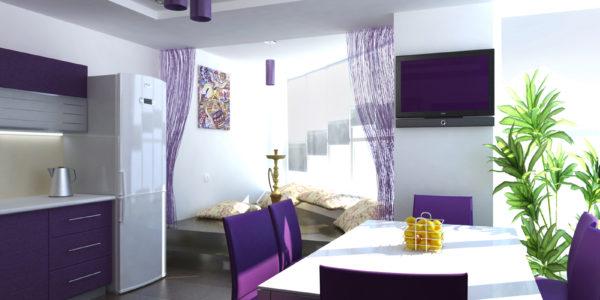 Decor elegant violet aubergine in bucatarie