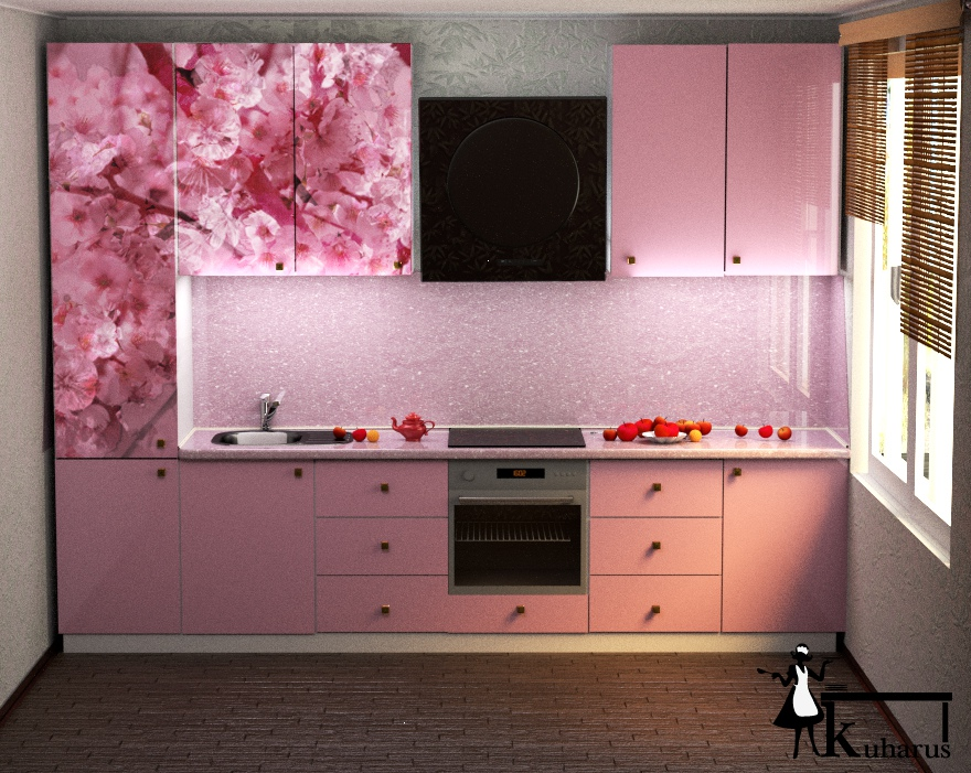 Decor roz bucatarie mica
