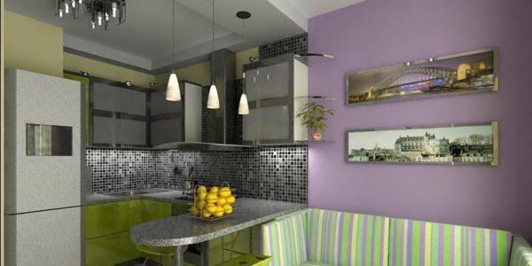 Decor verde-lila bucatarie moderna