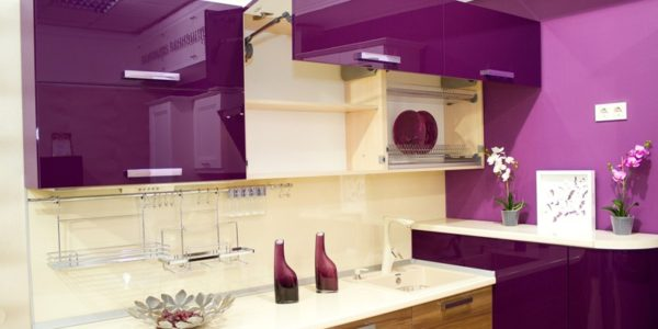 Decor violet aubergine bucatarie