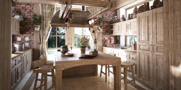 Mobila bucatarie din lemn natur