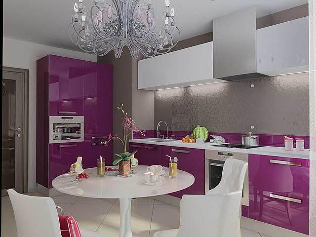Mobilier lila bucatarie