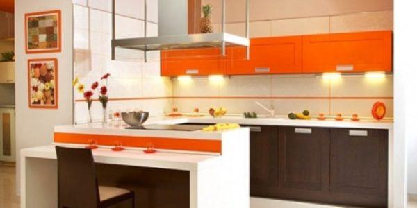 Mobilier maro portocaliu bucatarie