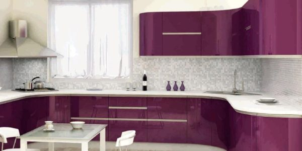 Mobilier violet aubergine bucatarie moderna