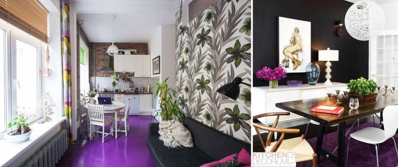 Pardoseala violet aubergine bucatarie